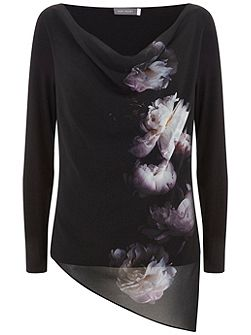 Luna Print Cowl Neck Top