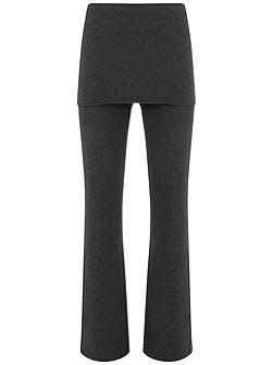 Charcoal Skirted Wide Leg Legging