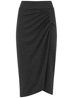 Charcoal Jersey Wrap Front Skirt