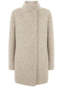 Mint Velvet Neutral Textured Cocoon Coat