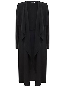 Black Soft Double Layer Duster Coat