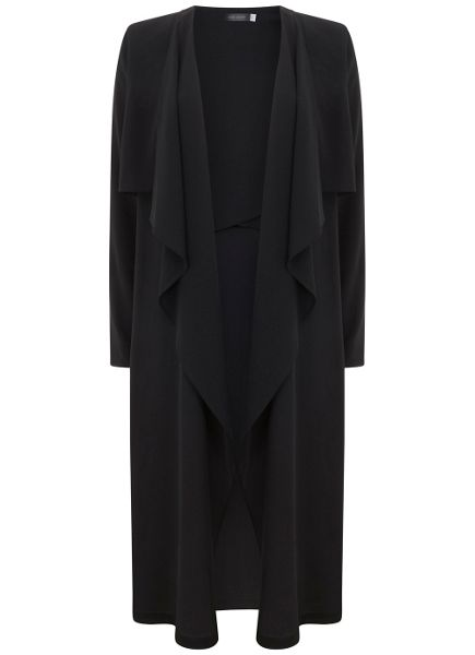Mint Velvet Black Soft Double Layer Duster Coat