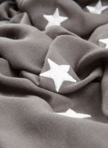 Mint Velvet Grey Scattered Embroidered Star Scarf
