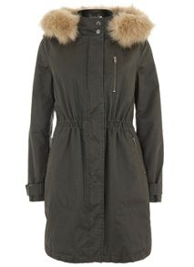 Mint Velvet Khaki Clean Waxed Parka