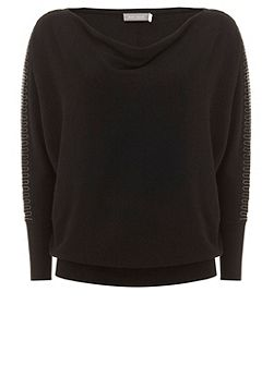 Black Beaded Batwing Knit
