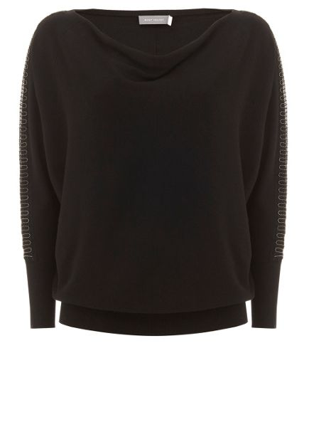 Mint Velvet Black Beaded Batwing Knit