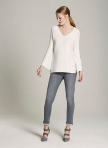 Mint Velvet Ivory Fluted Bell Sleeve Knit