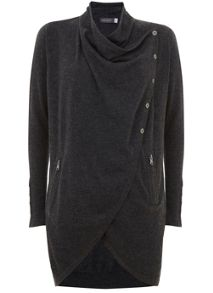 Mint Velvet Charcoal Longline Draped Cardigan