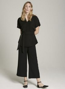 Mint Velvet Black Side Split Cropped Trouser