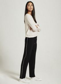Mint Velvet Black Side Stripe Sports Pant