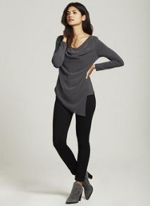 Mint Velvet Steel Asymmetric Double Layer Tee