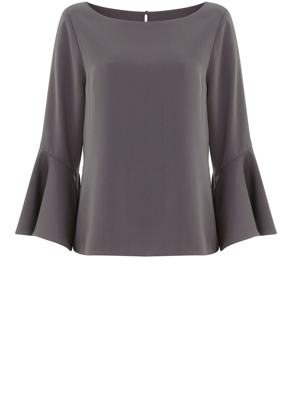 Mint Velvet Steel Fluted Sleeve Top, Grey
