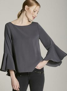 Mint Velvet Steel Fluted Sleeve Top