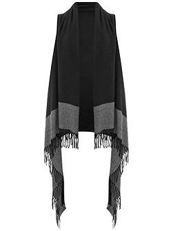 Black Colourblock Hem Drape Cape