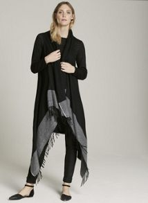 Mint Velvet Black Colourblock Hem Drape Cape