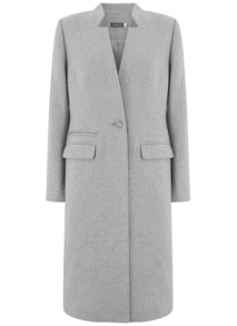 Mint Velvet Silver Grey Clean Longline Coat