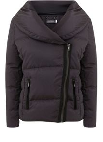 Mint Velvet Grey Lightweight Ruched Collar Puffer