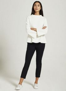 Mint Velvet Ivory Textured Funnel Neck Top