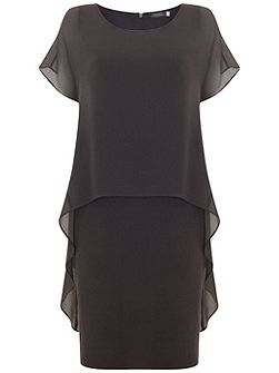 Steel Chiffon Layer Jersey Dress