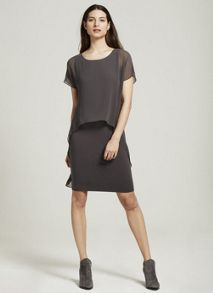 Mint Velvet Steel Chiffon Layer Jersey Dress