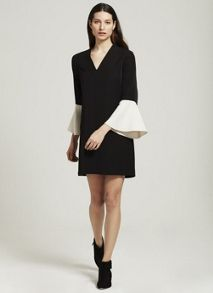 Mint Velvet Black Blocked Sleeve Dress