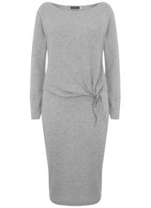 Mint Velvet Silver Grey Tie Front Ribbed Dress