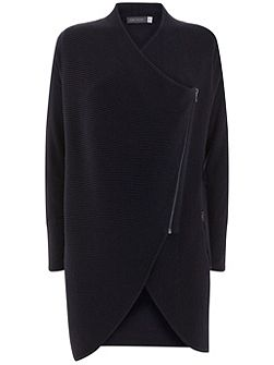 Black Ottoman Stitch Draped Cardigan
