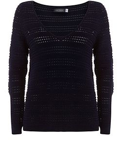 Ink Pointelle V-Neck Knit