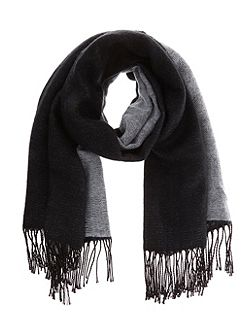 Black & Winter White Two Tone Blanket Scarf