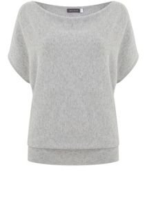 Mint Velvet Silver Grey Short Sleeve Batwing Knit