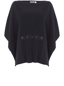 Ink Knitted Rib Detail Cape