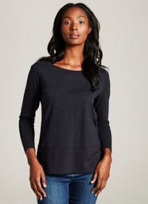 Mint Velvet Ink Long Sleeve Woven Hem Tee