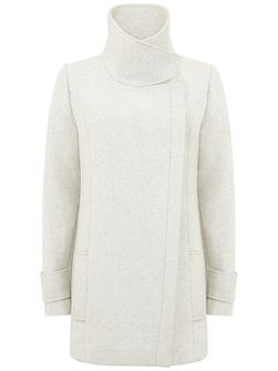 Textured Winter White Pea Coat
