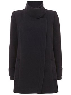 Navy Wool Blend Pea Coat