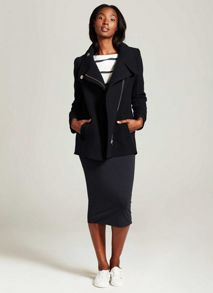 Mint Velvet Navy Wool Blend Pea Coat