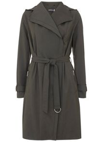 Mint Velvet Khaki Hooded Zip Trench