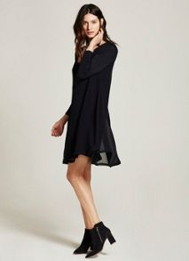 Mint Velvet Plain Long Sleeve Trapeze Dress
