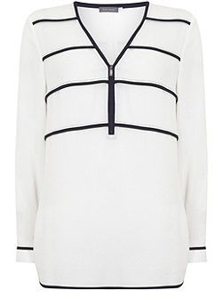 Ivory Ink Zip Front Stripe Blouse