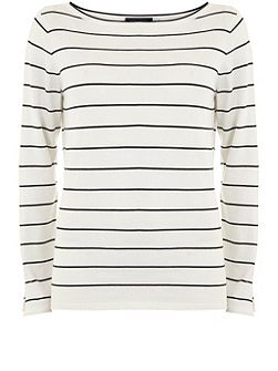Stripe Cut Out Sleeve Knit