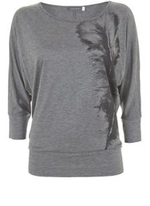 Mint Velvet Silver Grey Feather Print Batwing
