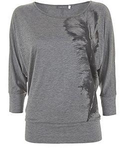Silver Grey Feather Print Batwing