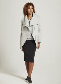 Mint Velvet Silver Grey Funnel Neck Biker Coat