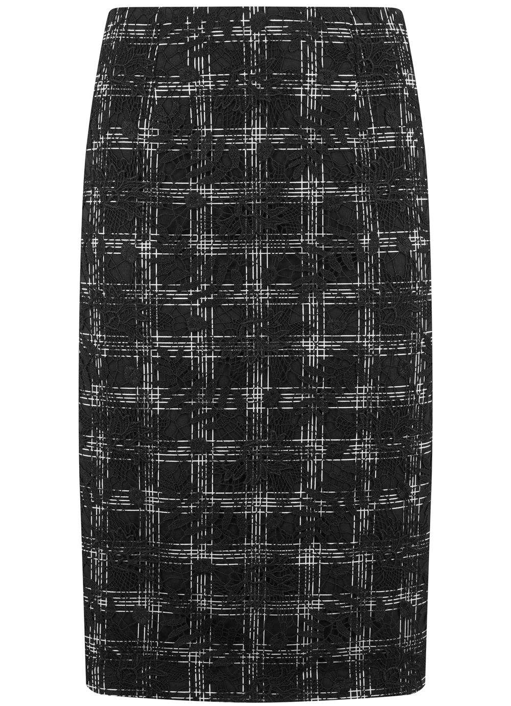 Mint Velvet Black Check & Lace Mix Skirt, Black