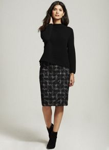 Mint Velvet Black Check & Lace Mix Skirt