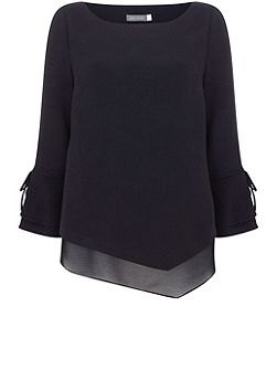 Ink Layered Side Tie Blouse