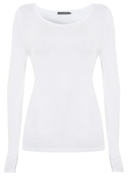 Mint Velvet Ivory Long Sleeve Modal Tee