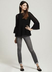 Mint Velvet Black Pintuck Lace Top