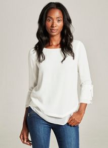 Mint Velvet Ivory Layered Side Tie Blouse