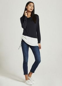 Mint Velvet Ink & Ivory Cowl Blocked Tee