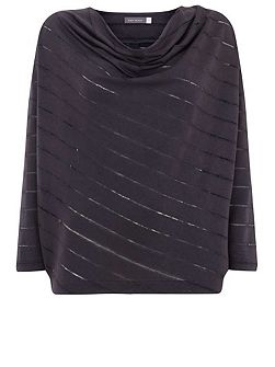 Carbon Cocoon Stripe Burnout Top
